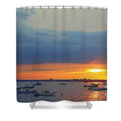 Sunset And Blue Clouds Shower Curtain by Dora Sofia Caputo Photographic Art and Design