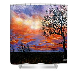 Sunset At Balule Shower Curtain by Caroline Street