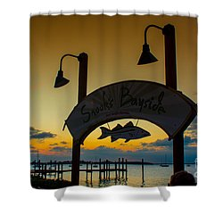 Sunset At Snooks Bayside Shower Curtain by Rene Triay Photography