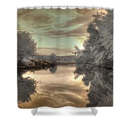 Sunset At The Boathouse Shower Curtain by Jane Linders