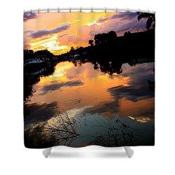 Sunset Bay Shower Curtain by AR Annahita