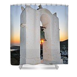 Sunset Behind A Belfry Shower Curtain by George Atsametakis
