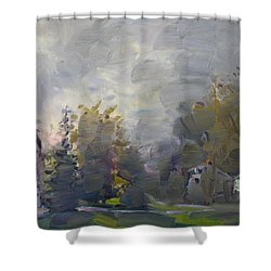Sunset In A Foggy Fall Day Shower Curtain by Ylli Haruni