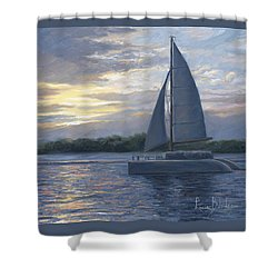 Sunset In Key West Shower Curtain by Lucie Bilodeau