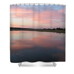 Sunset In Pink And Blue Shower Curtain by Melissa McCrann