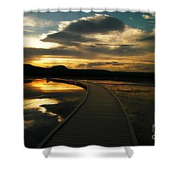 Sunset In Yellow Stone Shower Curtain by Jeff Swan