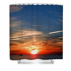 Sunset On The Gulf Of Mexico Shower Curtain by Debra Martz