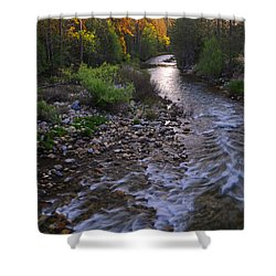 Sunset On The Merced Shower Curtain by Lynn Bauer