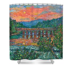 Sunset On The New River Shower Curtain by Kendall Kessler