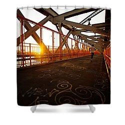 Sunset On The Williamsburg Bridge - New York City Shower Curtain by Vivienne Gucwa
