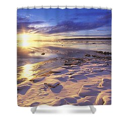 Sunset Over Knik Arm & Six Mile Creek Shower Curtain by Michael DeYoung