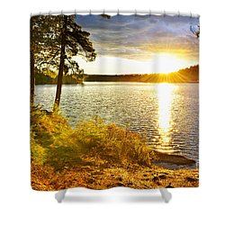 Sunset Over Lake Shower Curtain by Elena Elisseeva