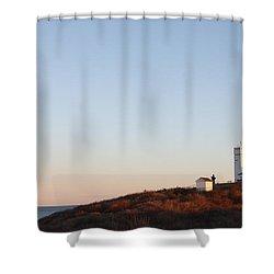 Sunset Over Montauk Lighthouse Shower Curtain by John Telfer