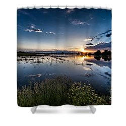 Sunset Over The River Shower Curtain by Steven Reed