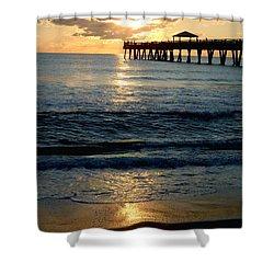 Sunset Pier Shower Curtain by Carey Chen