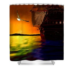 Sunset Sails Shower Curtain by Lourry Legarde