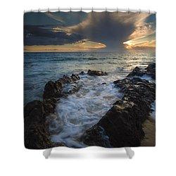 Sunset Spillway Shower Curtain by Mike  Dawson