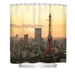 Sunset Tokyo Tower Shower Curtain by For Ninety One Days