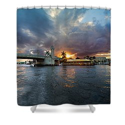 Sunset Waterway Panorama Shower Curtain by Debra and Dave Vanderlaan