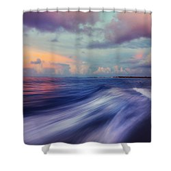 Sunset Wave. Maldives Shower Curtain by Jenny Rainbow