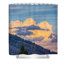 Sunset With A Smile Shower Curtain by Omaste Witkowski