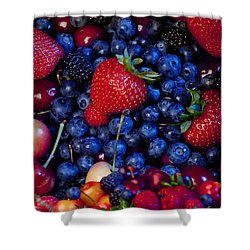 Super Healthy Shower Curtain by Alixandra Mullins