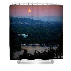 Super Moon River Shower Curtain by Susan Garren