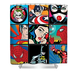 Superheroes Shower Curtain by Mark Ashkenazi