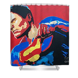 Superman - Red Sky Shower Curtain by Kelly Hartman