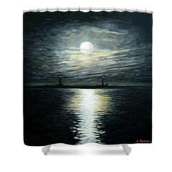 Supermoon Rising Over Thacher Island Shower Curtain by Eileen Patten Oliver