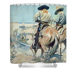 Supply Wagons Shower Curtain by Newell Convers Wyeth