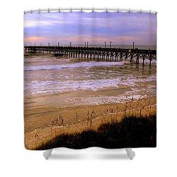 Surf City Pier Shower Curtain by Karen Wiles