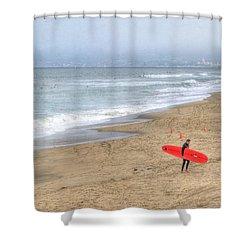 Surfer Boy Shower Curtain by Juli Scalzi