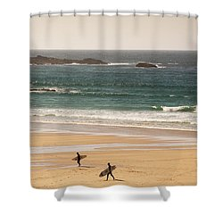 Surfers On Beach 01 Shower Curtain by Pixel Chimp