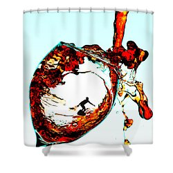 Surfing In A Cup Of Wine Little People On Food Shower Curtain by Paul Ge