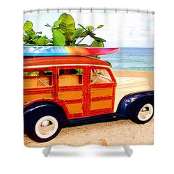 Surf's Up Shower Curtain by Jerome Stumphauzer