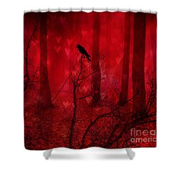 Surreal Fantasy Gothic Red Woodlands Raven Trees Shower Curtain by Kathy Fornal
