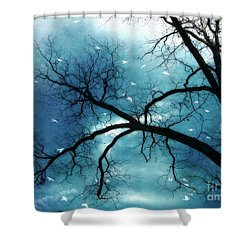 Surreal Fantasy Haunting Gothic Tree With Birds Shower Curtain by Kathy Fornal