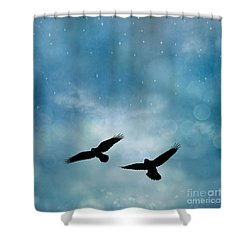 Surreal Ravens Crows Flying Blue Sky Stars Shower Curtain by Kathy Fornal