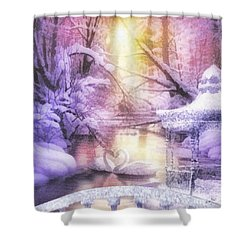 Swan Lake Shower Curtain by Mo T