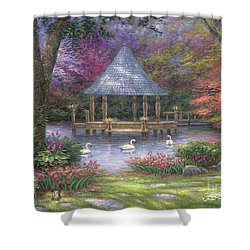 Swan Pond Shower Curtain by Chuck Pinson