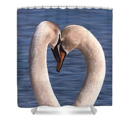 Swans Painting Shower Curtain by Rachel Stribbling
