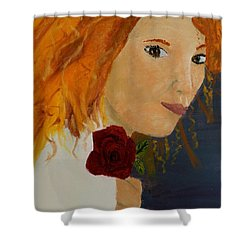 Sweet Lady Holding A Rose Shower Curtain by Pamela  Meredith