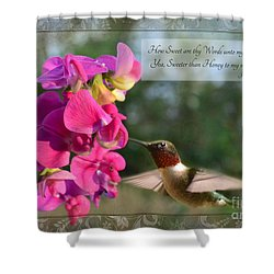 Sweet Pea Hummingbird Iv With Verse Shower Curtain by Debbie Portwood