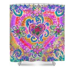 Swirley Heart Variant 1 Shower Curtain by Alixandra Mullins