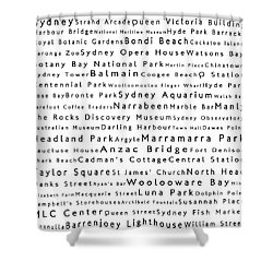 Sydney In Words White Shower Curtain by Sabine Jacobs