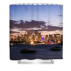 Sydney Skyline At Dusk Australia Shower Curtain by Matteo Colombo