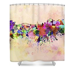 Sydney Skyline In Watercolor Background Shower Curtain by Pablo Romero