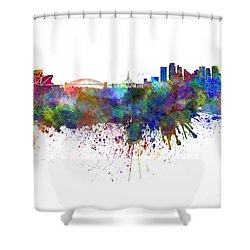 Sydney Skyline In Watercolor On White Background Shower Curtain by Pablo Romero
