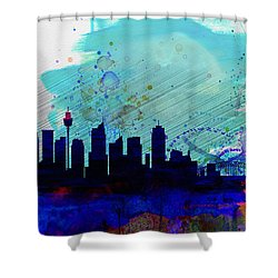 Sydney Watercolor Skyline Shower Curtain by Naxart Studio